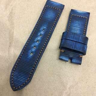 26mm Handmade Vintage Blue Leather Strap