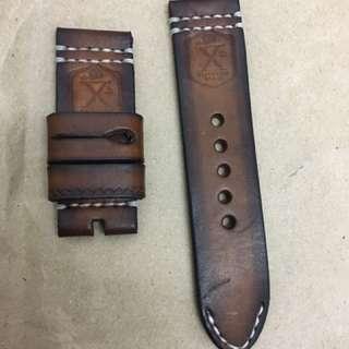 26mm Handmade Flottiglia Logo Vintage Brown Leather Strap