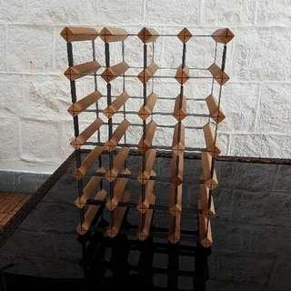 Wooden/Metal Heavy Duty Wine Bottle Rack