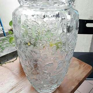 TALL GLASS VASE - EMBOSSED FLORAL DESIGN