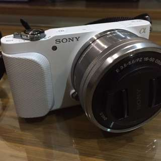 White Sony Alpha NEX-3N and lot of accessories