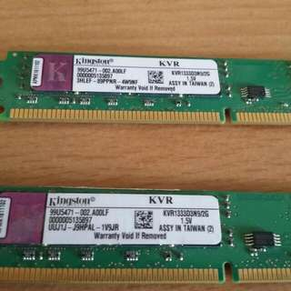 🚚 金士頓  DDR3 1333 2g x2 Kingstong
