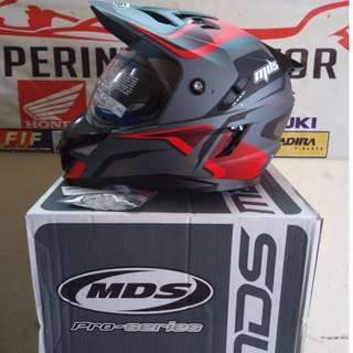 MDS SUPER PRO MOTOR CROSS BALAP FULLFACE DARK RED