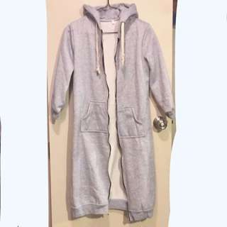 Grey Long Coat Hoodie