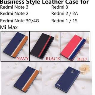 Xiaomi Mi Max / Redmi Note 3 / Redmi Note 2 / Redmi 3 / Redmi 2 / 2A / Redmi 1 / 1S / Redmi Note Business Style Flip Wallet Case Casing Cover