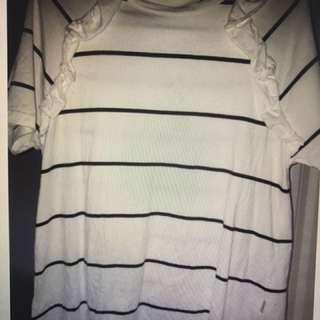 Lower Stripe Ruffle Top