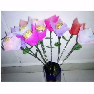 Single Stalk Ferrero Rocher Rose Bouquet Flower for Teacher's Day Gifts Valentines Day Mothers day Gifts