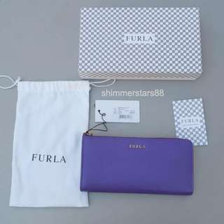 💜🆕Authentic Furla Babylon XL Zip Purple Wallet RRP $269