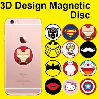 3D Cartoon Design Magnetic Disc Plate for 360 Degree Magnetic Phone Holder / UF-X / Steelie Smart Stand / Car Accessories