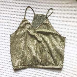 Zara Gold Wrap Top Size Large