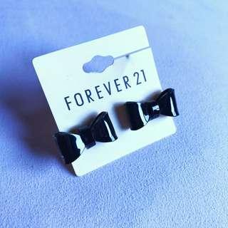 Forever 21 Black Ribbon Earrings