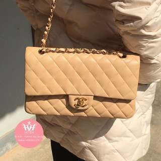 CHANEL CLASSIC LAMBSKIN MEDIUM BEIGE GHW