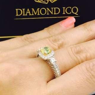 💚GIA Fancy green 0.76 SI1 綠色彩鑽😍 非常鮮艷😎 閃爆登場 罕有 兩旁副石配上公主方//現貨交收