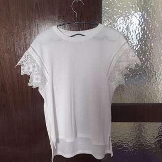 日本品牌JEANASiS白色蕾絲棉質上衣