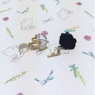 🚚 現貨 🎉超美韓風韓款可愛雨傘雲朵無耳洞耳夾式耳環