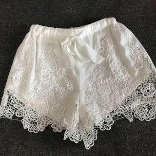 White Lace Shorts Size S