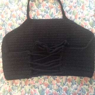 Black knit halter crop top
