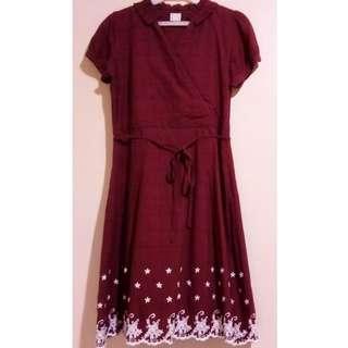 Paper dolls Maroon Dress - D006