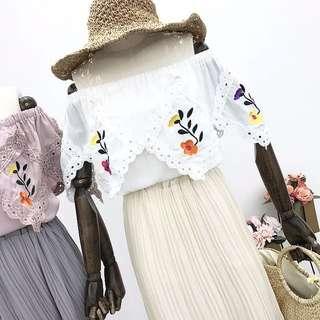 Embroidery Off-Shoulder