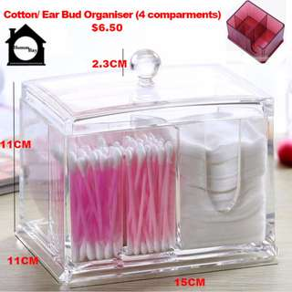 Acrylic Make Up Makeup Cosmetic Organiser Organizer Storage Box Holder Cotton Bud
