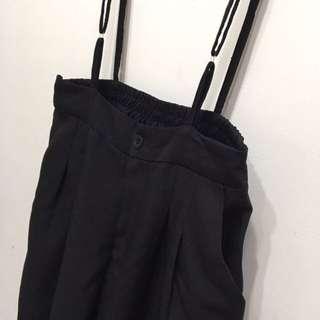 吊帶黑寬褲