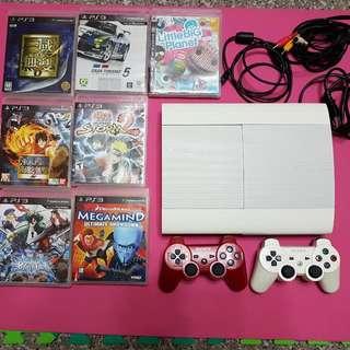 PS3遊戲主機+正廠手把+遊戲11片(不拆售)