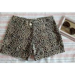 velvet animal print shorts