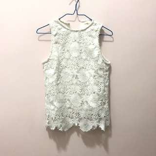 =SALE= Maje white floral top 白色褸空花上衣