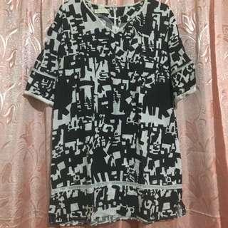 Black and White 3/4s Dress