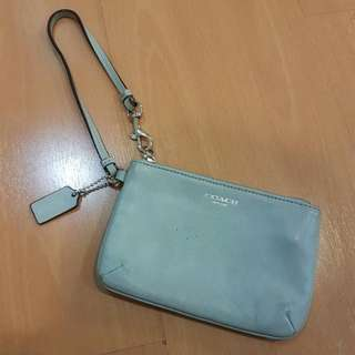 Authentic Coach Leather Wristlet in baby blue
