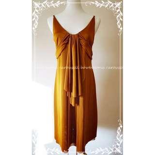 全新! Armani Exchange Gold Drape Halter Dress 名媛古銅金色小禮服洋裝