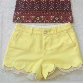Yellow Scallop Shorts