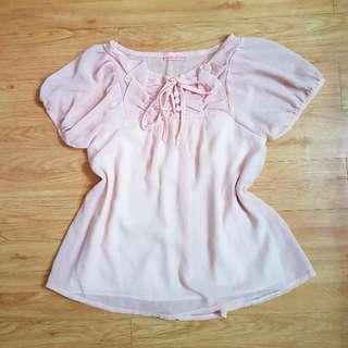 Chiffon Pastel Pink Blouse