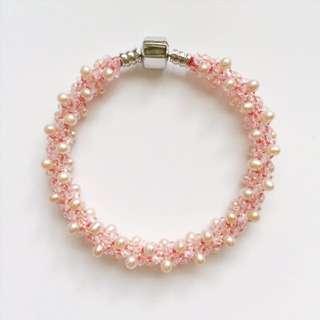 網路知名 粉色珍珠手鍊