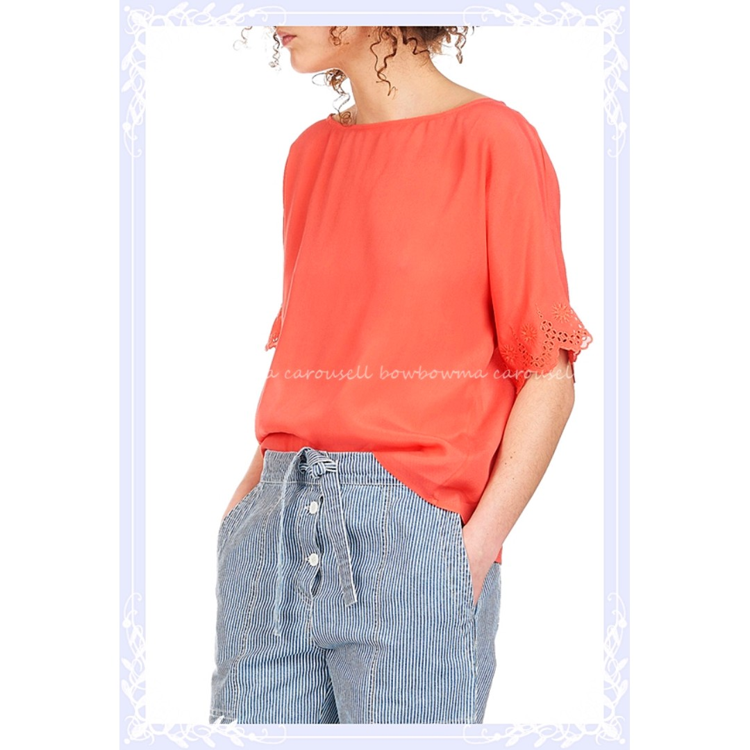 全新! Athé Vanessa Bruno Short-sleeved silk top 優雅精緻手工刺繡絲質上衣~#含運最划算