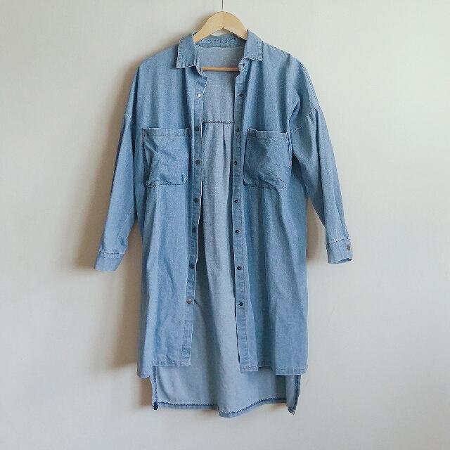 【任選3件500】淺藍牛仔長版外套 #外套特賣 #四百不著涼
