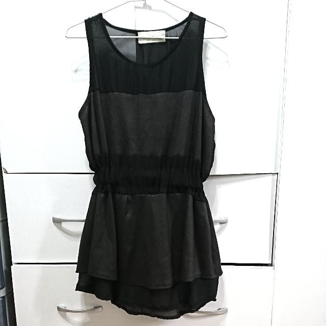 黑色拼接小洋裝