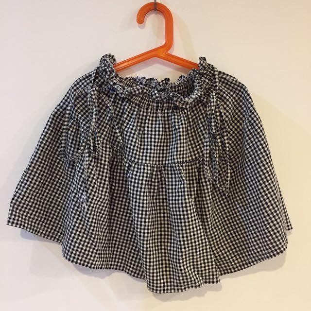 格子吊帶裙