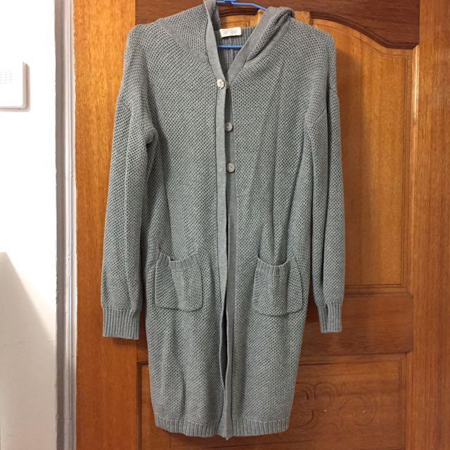 灰長版氣質外套