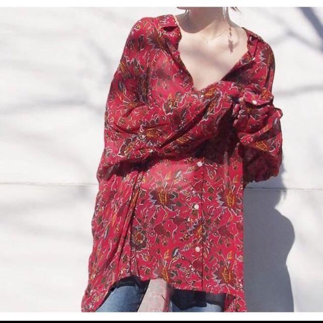 超美波希米亞雪紡罩衫