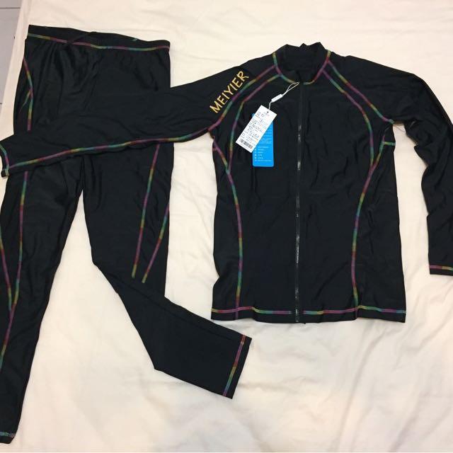 韓版 衝浪長袖拉鏈比基尼防磨衣四件組