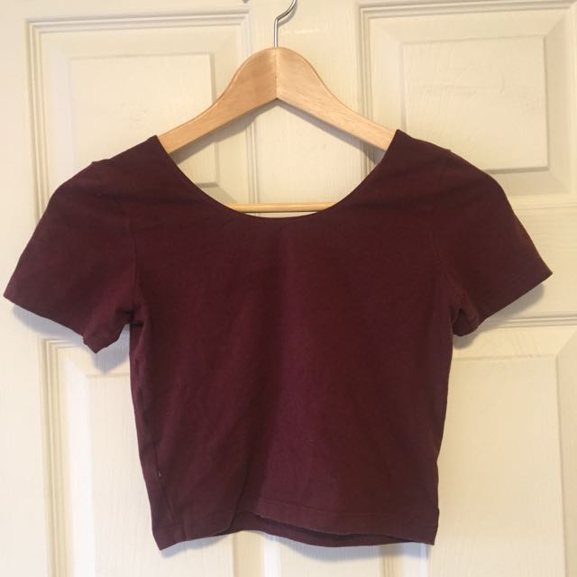 American Apparel Maroon / Burgundy Crop Top