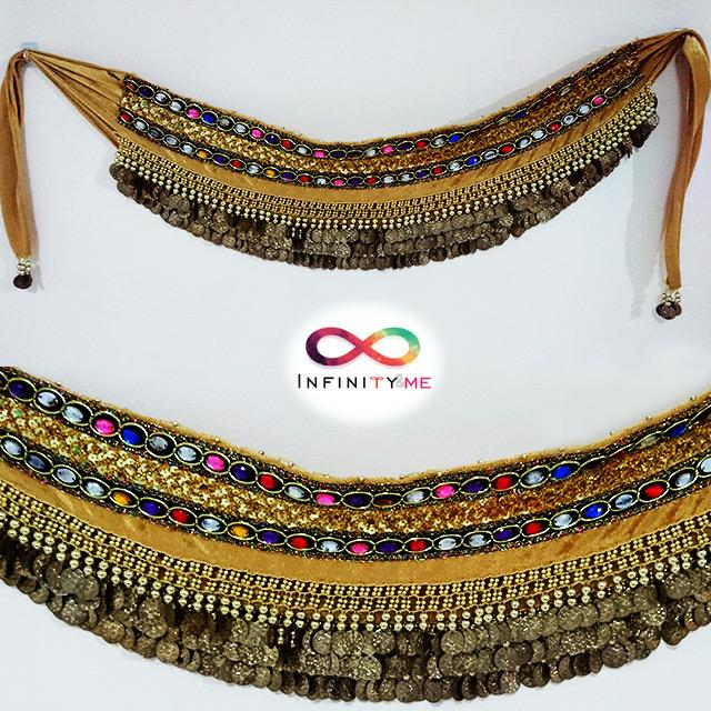 Belly Dance Velvet Hip Scarf with Gold Coins Band & Double band Gemstones Hip Belt - Gold