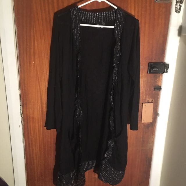 Black Cardigan Knee Length