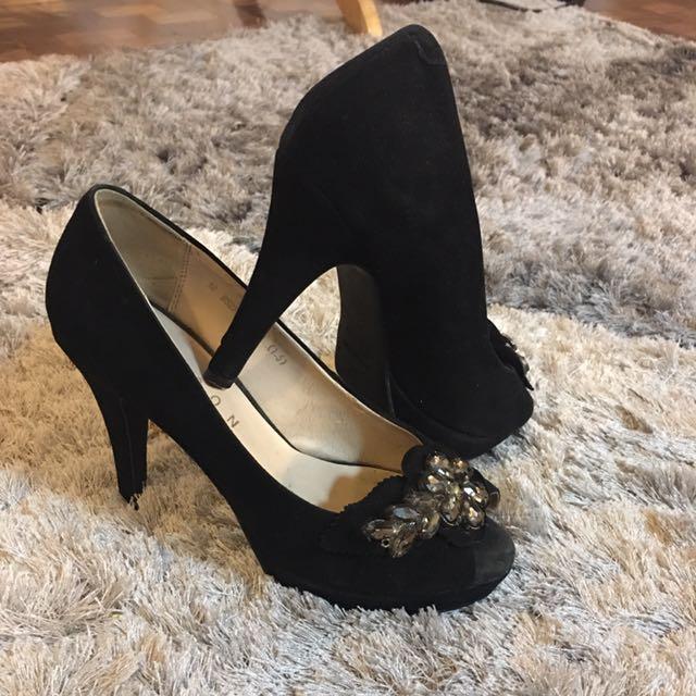 Black Suede Peeptoe Heels
