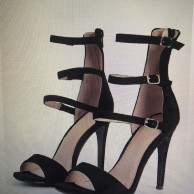 Boohoo Leah Ankle High Buckle Strap Two Part Heels Black