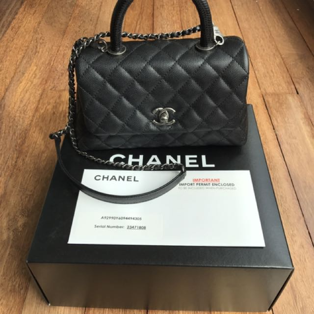 1a1974fd72a3 Chanel Mini Coco Handle Python, Luxury, Bags & Wallets on Carousell
