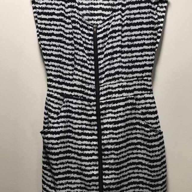 F21 Black & White Printed Dress