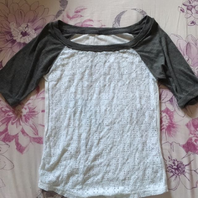 Grey Lace Baseball Tee