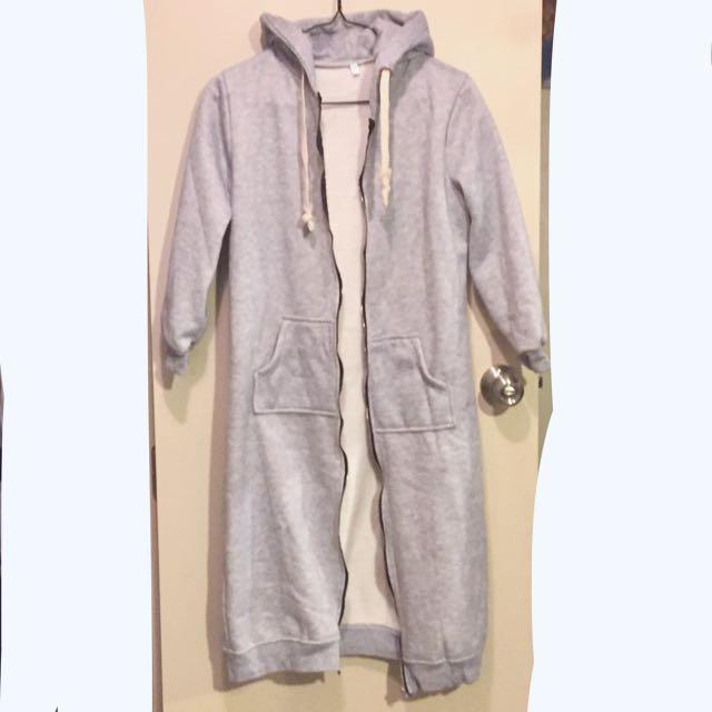 Grey Long Coat Hoodie